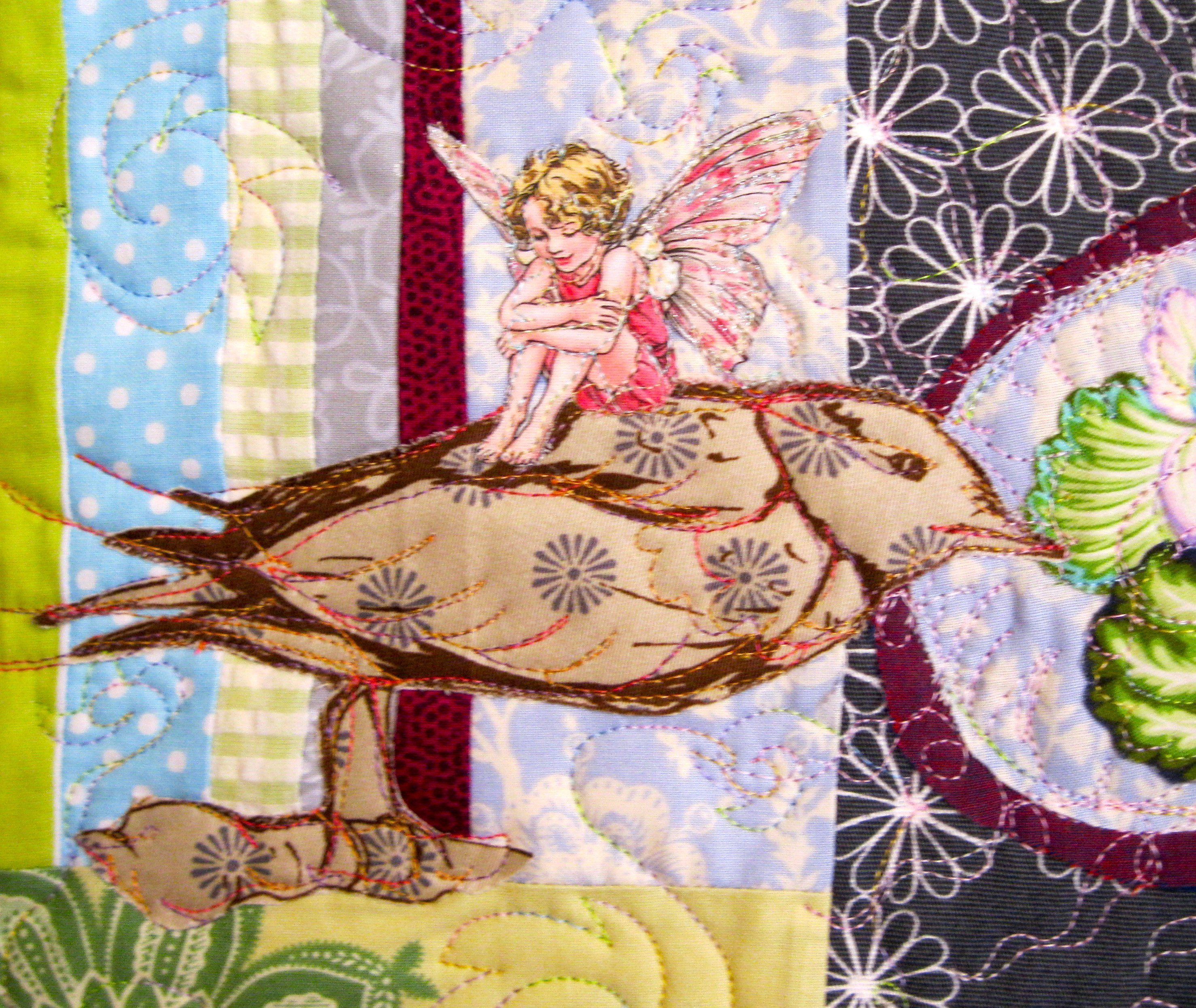Inner Border Detail of Morning Fairies in Grandma's Garden by Sandy Jorgensen