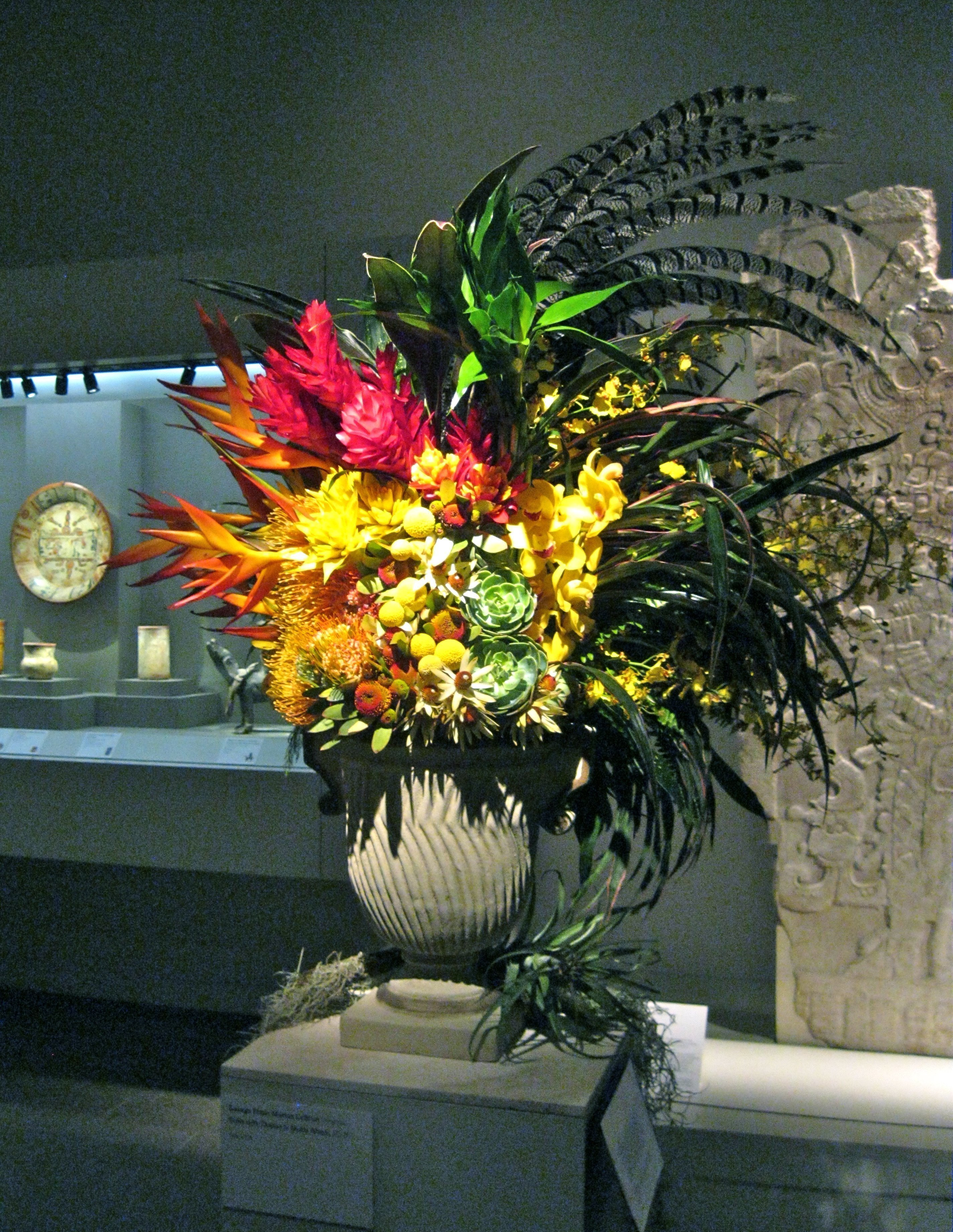 Large arrangement with pheasant feathers