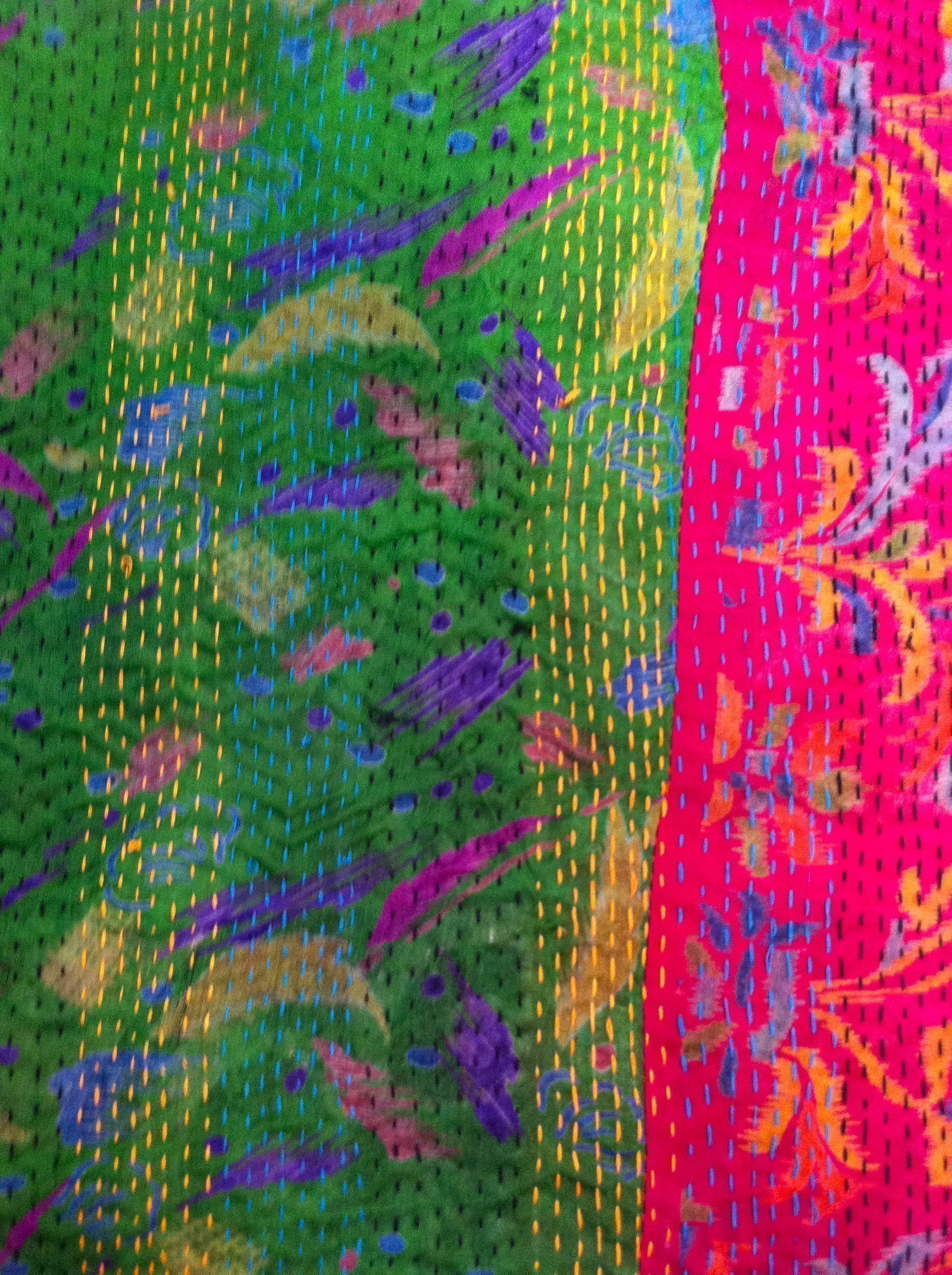 Color Loom - Ghudri Bed Throw - stitching detail