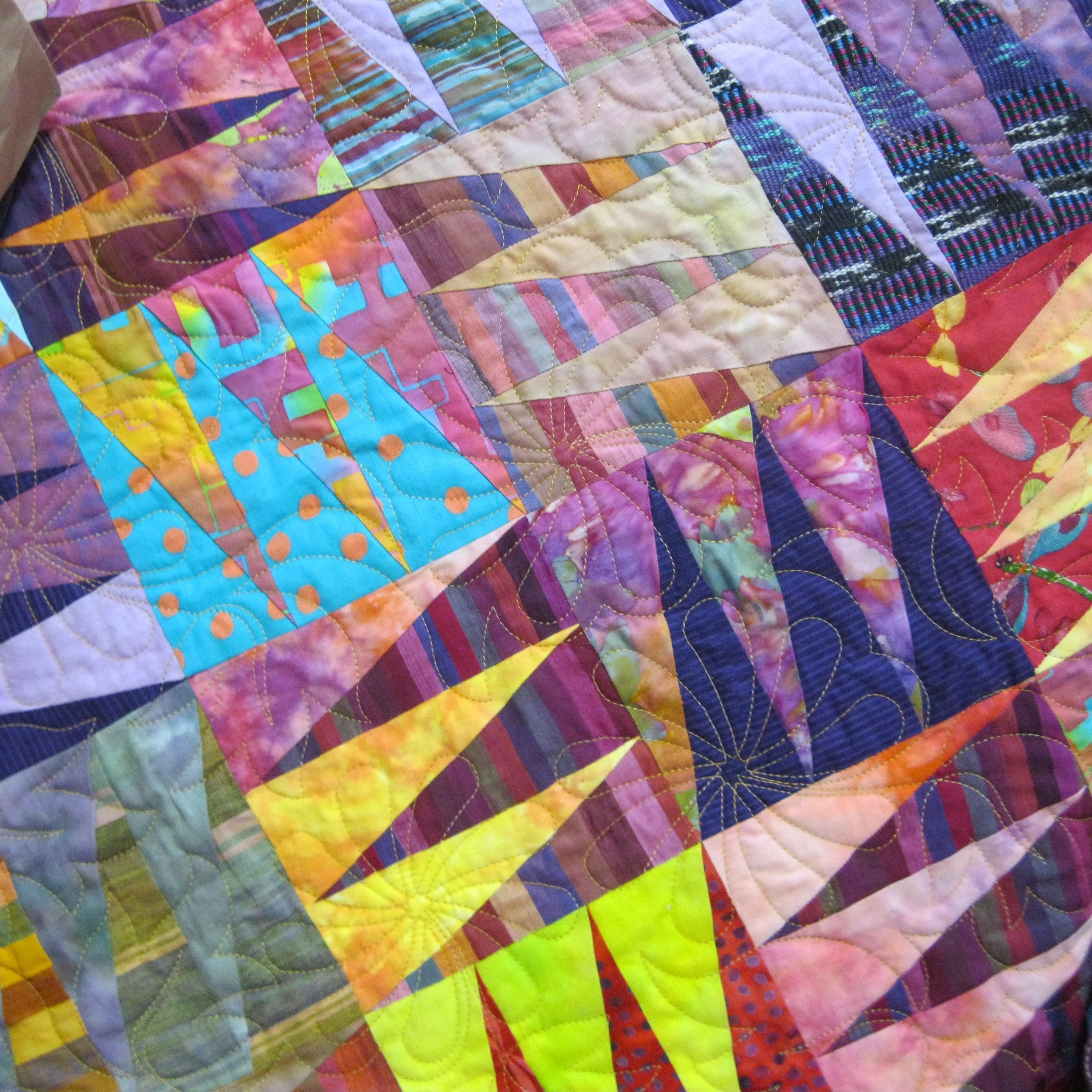 Close up of a quilt on Margaret's table