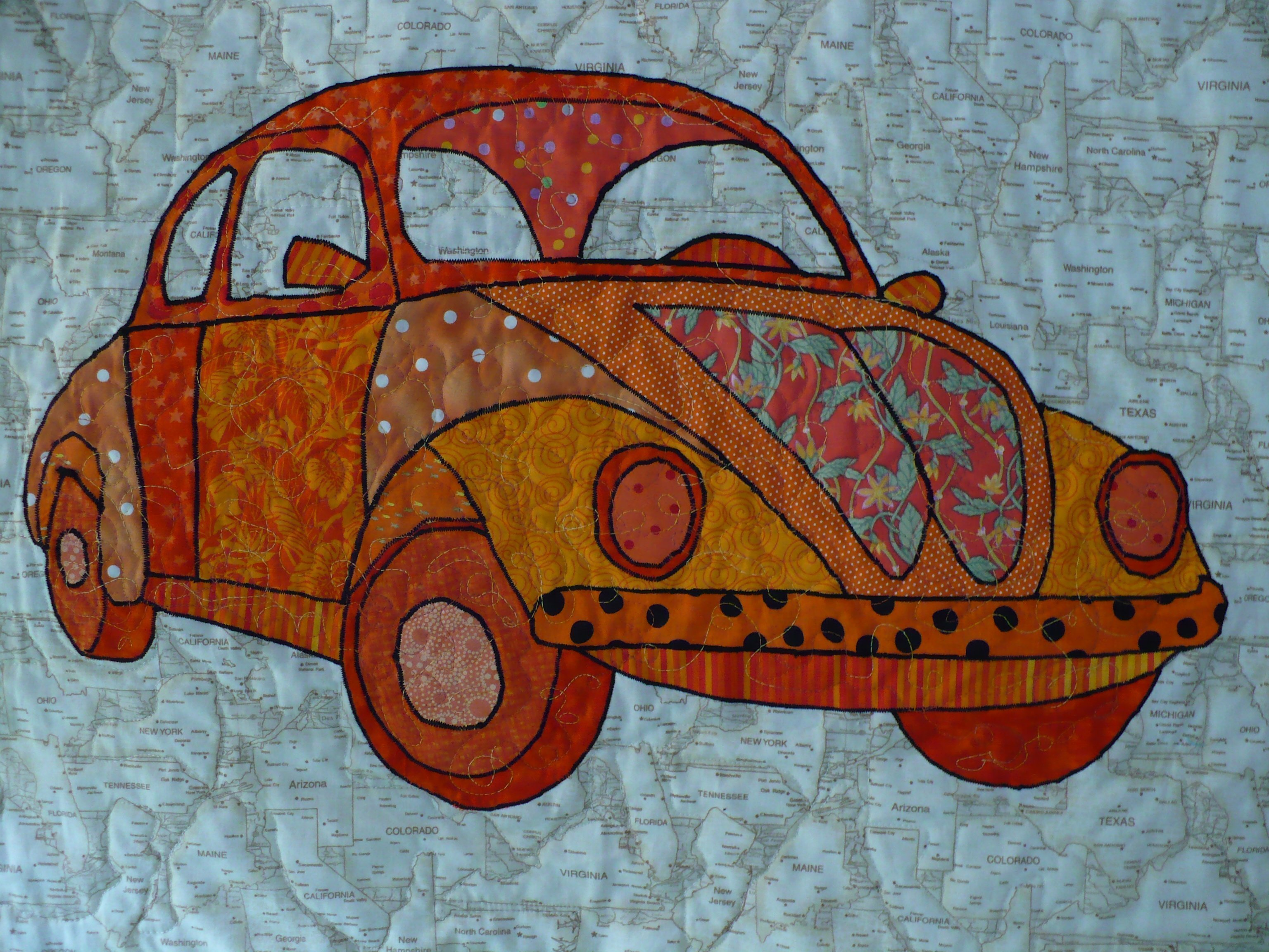 Volkswagen Bug Quilt - Close up