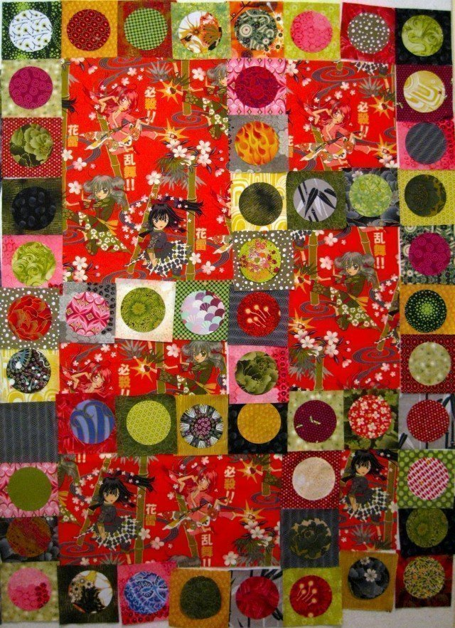 Kapow! All circles in place - ready to sew