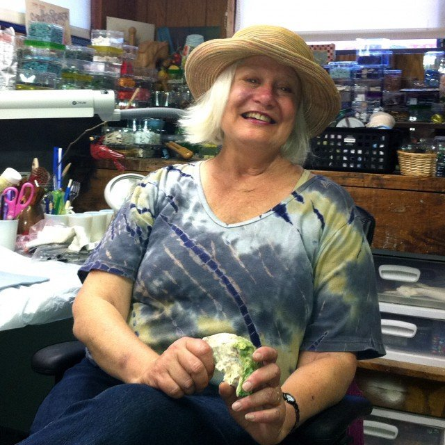 Sue in her studio
