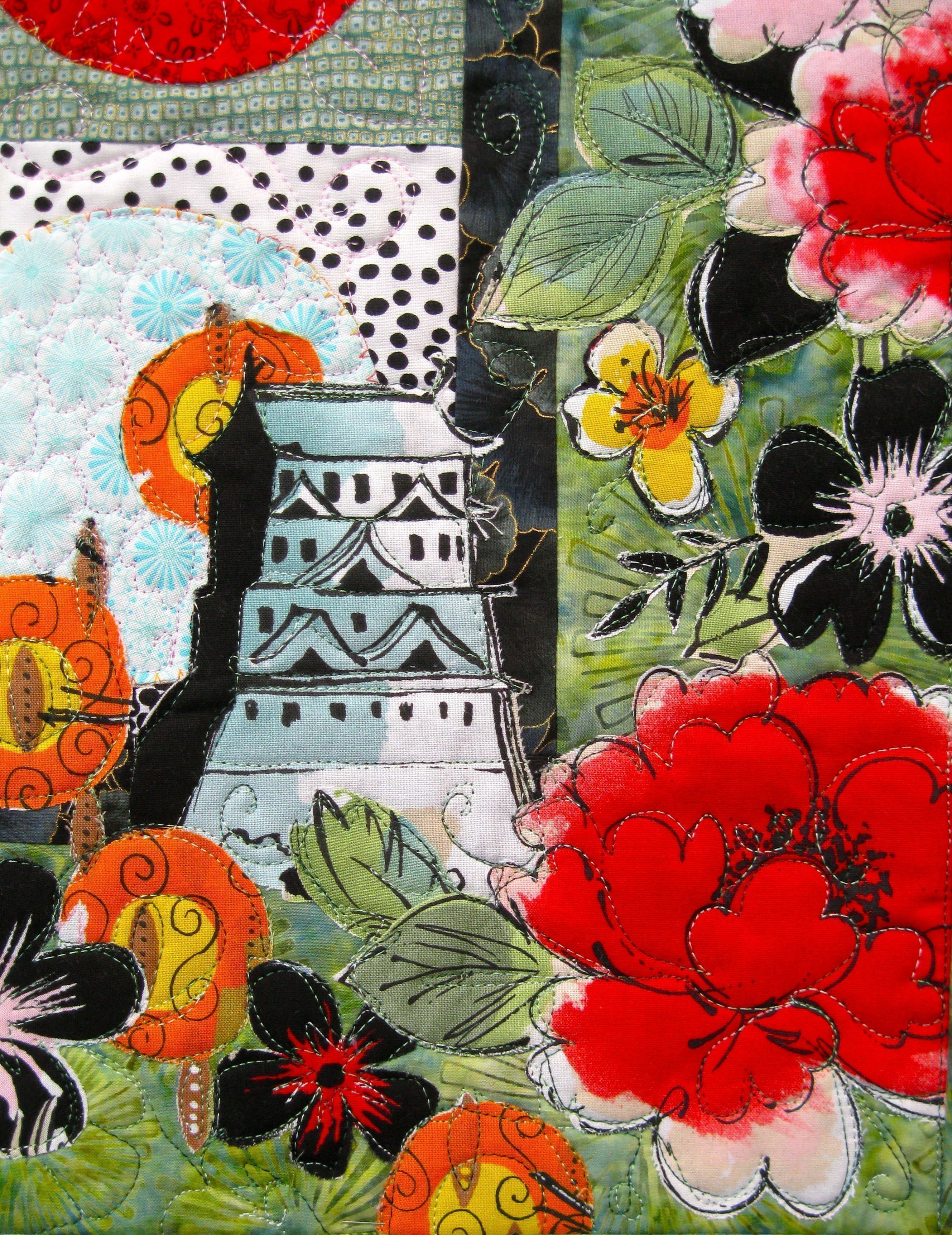 Pagoda and Peonies Quilt - lower right corner detail