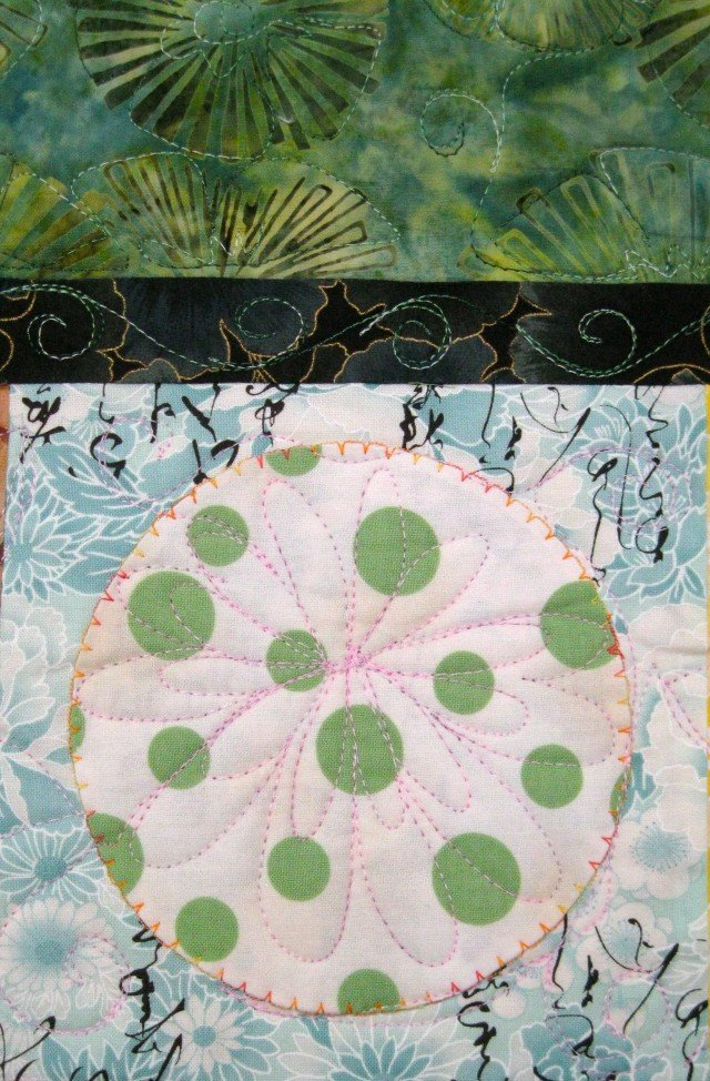 Pagoda and Peonies Quilt - circle detail