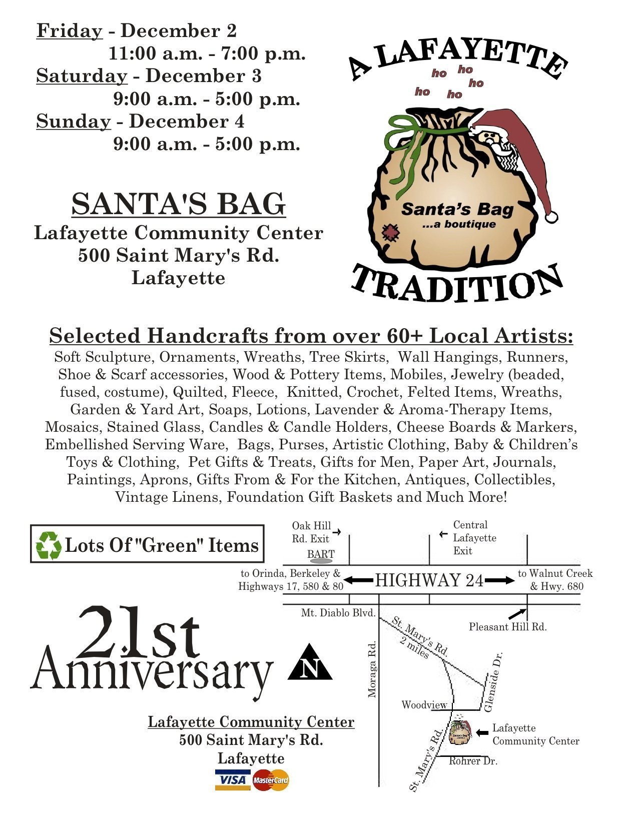 2011 Email Flyer for Lafayette Santa's Bag