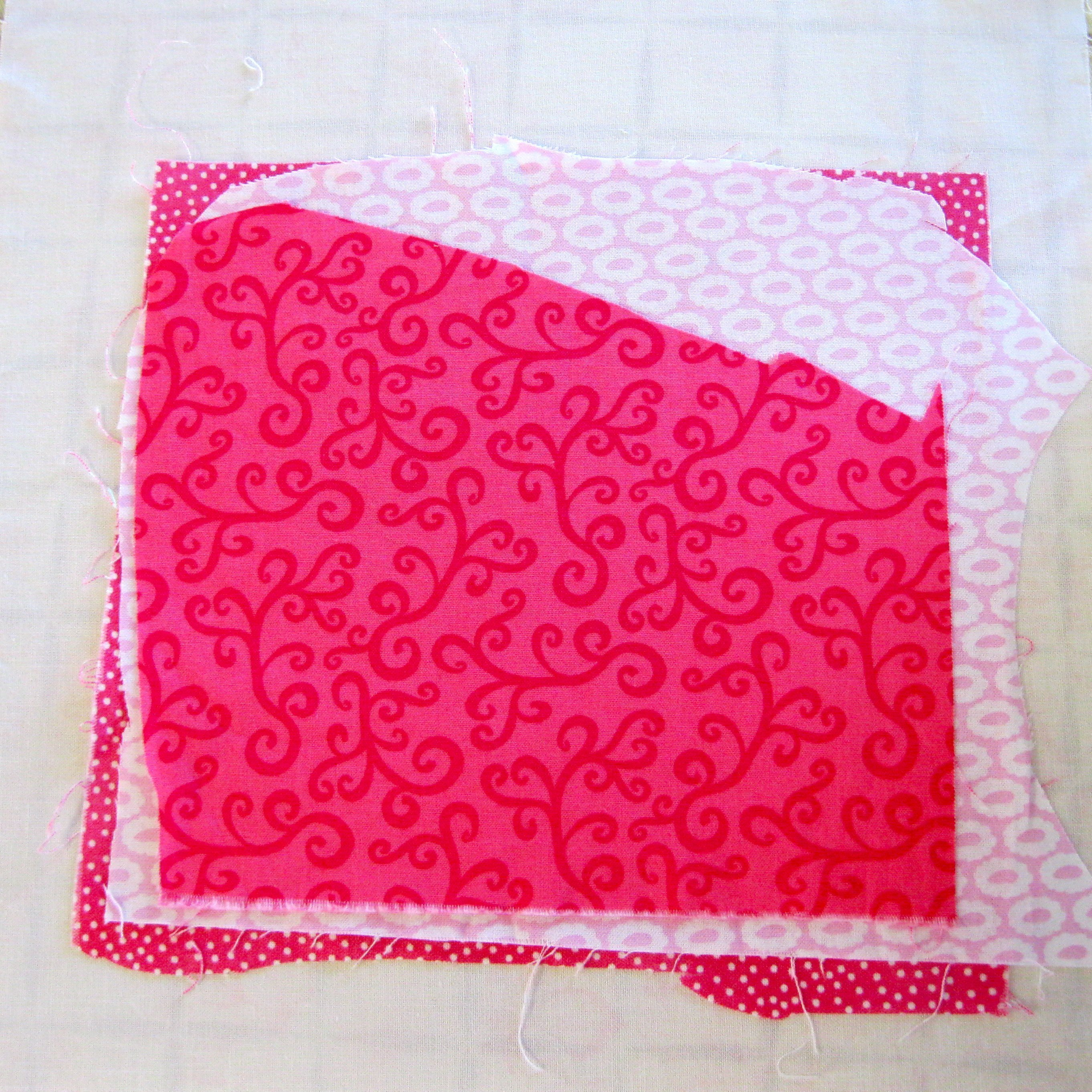 Step 3 - stack 5 pieces of fabric