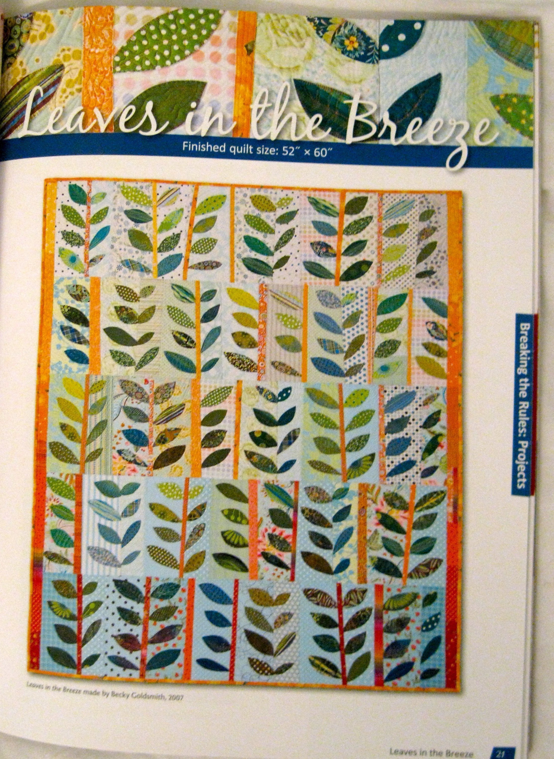 Leaves in the Wind quilt page from the book