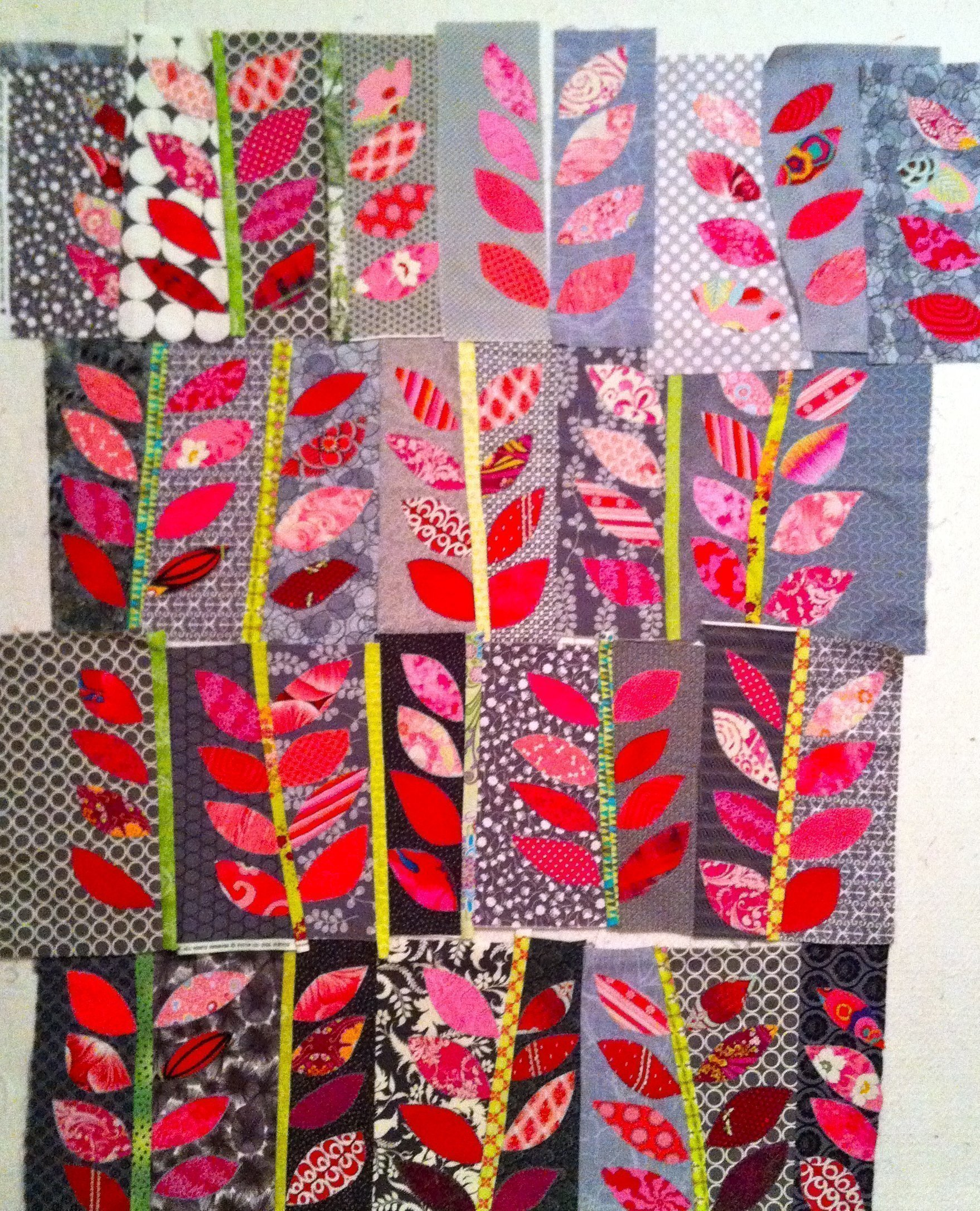 Four rows ready to sew