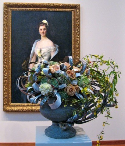 Sargent painting and accompanying bouquet