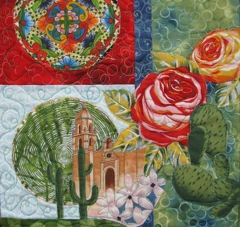 Detail of Fiesta Beauties quilt, by Alethea Ballard; middle right