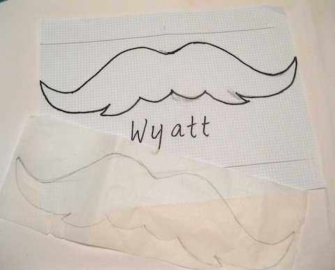Copy mustache to paper side of fusible