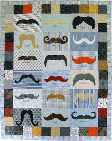 "Awesome Mustache Quilt, 47"" x 54"" by Alethea Ballard; 2012"