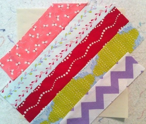String-Pieced blocks: diagonally-sewn squares