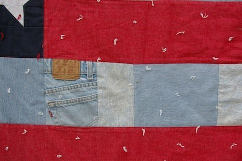 Jeans and tying add interest to the All-American Flag Quilt, by Alethea Ballard