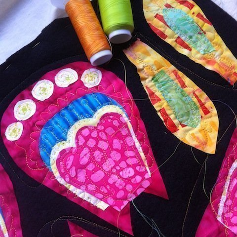 Quilted petal parts - flower view 8